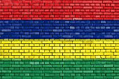 picture of mauritius  - flag of Mauritius painted on brick wall - JPG