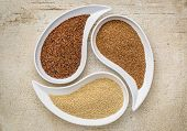 stock photo of teardrop  - three tiny gluten free grains  - JPG
