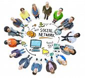 picture of follow-up  - Social Network Social Media People Looking Up Concept - JPG