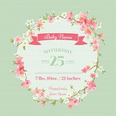 Постер, плакат: Baby Shower or Arrival Cards with Spring Blossoms in vector