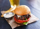 picture of burger  - tasty gourmet burger with french fries and sauce - JPG