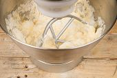 picture of cake-mixer  - Food processor with beater tool preparing dough for a cake - JPG