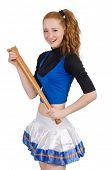 image of cheerleader  - Cheerleader isolated on the white background - JPG