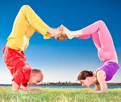 stock photo of scorpion  - Yoga couple - JPG