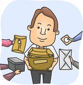foto of overwhelming  - Illustration of a Messenger Overwhelmed by Parcels - JPG