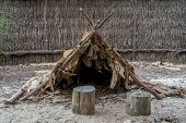 stock photo of aborigines  - Australian aboriginal hut in Wangi Mia meeting place - JPG
