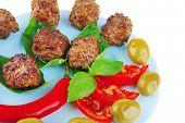 picture of basil leaves  - beef meat cutlets served on basil leaf - JPG