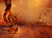 picture of classic art  - Grunge music background with music notes on stave - JPG