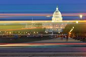 pic of capitol building  - Washington DC - US Capitol Building with car lights trails foreground at night  - JPG