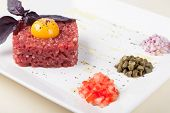 picture of yolk  - tartar of beef with egg yolk - JPG