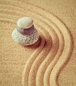 pic of tranquil  - Vintage retro effect filtered hipster style image of Japanese Zen stone garden  - JPG