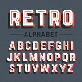 picture of alphabet  - Retro style 3d alphabet - JPG