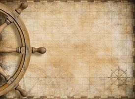 image of steers  - steering wheel and blank vintage nautical map background - JPG
