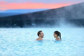 foto of hot couple  - Hot spring geothermal spa on Iceland - JPG