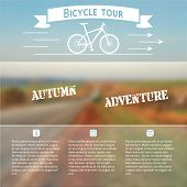 picture of slogan  - Poster for bike adventure with autumn landscape on a blurred photo background - JPG