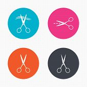 stock photo of scissors  - Circle buttons - JPG