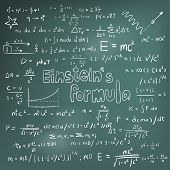 ������, ������: Albert Einstein Law Theory And Physics Mathematical Formula Equation Doodle Handwriting Icon In Bla