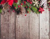 pic of snow border  - Christmas border design on the wooden background - JPG