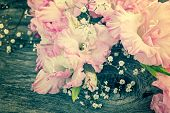 stock photo of gladiolus  - branch of pink gladiolus on wooden table - JPG