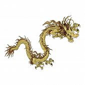 stock photo of dragon  - vector illustration golden Chinese dragon a traditional design isolated object - JPG