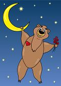 pic of moon-flower  - Bear on moon with flowers in hand - JPG