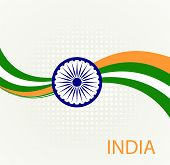 stock photo of indian independence day  - Indian Independence Day background with  wheel flag democracy - JPG