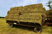 stock photo of hayride  - Large bales of straw on a tractor trailer - JPG