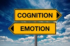picture of cognitive  - Cognition versus Emotion Directional Street Sign Concept of Choice - JPG