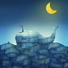 stock photo of fairy tail  - Surreal illustration of a mechanical whale like submarine in the ocean with a half moon - JPG