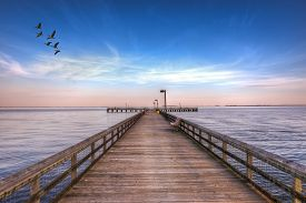 picture of maryland  - High Dynamic Range image of a Fishing pier on the Eastern shore of the Chesapeake Bay in Maryland - JPG