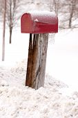 Rural Mailbox In The Winter With Ice