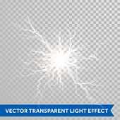 Thunder lightning flash light on transparent background. Vector realistic electricity ball lightning poster