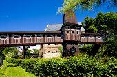 covered wooden bridge by Dusan Jurkovic, Nove Mesto nad Metuji, Czech Republic