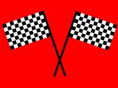 Checkered flag on red background