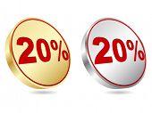 twenty percent discount icon