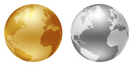 image of world-globe  - world globe silver and golden color - JPG