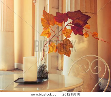 poster of Autumn background - tree branch with colorful autumn leaves in the vase on the cafe table. Autumn composition in soft tones. Autumn still life with autumn leaves