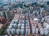 Top view aerial photo from flying drone of a HongKong Global City with development buildings, transp poster