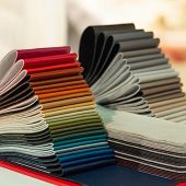 Catalog Of Multicolored Imitation Leather From Matting Fabric Texture Background, Leatherette Fabric poster