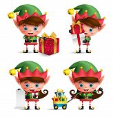 Christmas Elves Vector Characters Set. Cute Kids With Green Elf Costume Holding Gifts And Other Chri poster