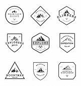 Mountain Adventure Badges Collection. Vintage Adventure Logo poster