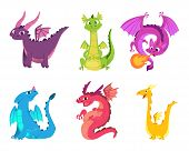 Cute Dragons. Fairytale Amphibians And Reptiles With Wings And Teeth Medieval Fantasy Wild Creatures poster