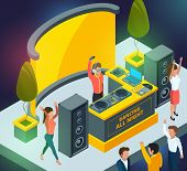 Concert Or Club Party. Scene With Musical Instruments And Dj Setup. Dj Music Club, Party And Disco I poster
