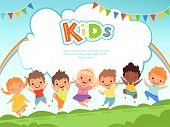 Children Jumping Background. Happy Kids Playing Male And Female On Playground Vector Template With P poster