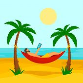 Man At Beach Hammock Concept Background. Flat Illustration Of Man At Beach Hammock Vector Concept Ba poster
