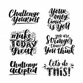 Vector Set Of Motivational Saying For Posters And Cards. Positive Slogan For Office And Gym, Overcom poster