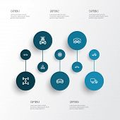 Automobile Icons Line Style Set With Carwash, Truck, Wheelbase And Other Lorry Elements. Isolated  I poster