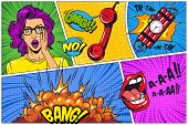 Comic Bright Composition With Explosive Halftone Rays Radial Effects Speech Bubbles Wordings Shoutin poster