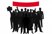 group silhouette people demonstration with red bill over white background