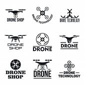 Drone Logo Set. Simple Set Of Drone Vector Logo For Web Design On White Background poster